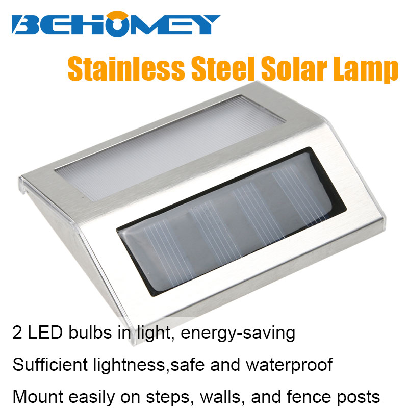 2 Leds Stainless Steel Outdoor Lighting Solar Lamp Waterproof Energy Saving Garden Pathway Stairs Wall White Warm Light  -  Behomey Store store