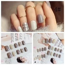 24PCs/set Fashion Style Women Ladies French 3D Matte Art Fake Short False Nails Full Tips Sticker With Glue Short False Nails