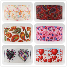 Q&N ribbon 16mm 22mm 25mm 38mm 50mm 75mm heart flower printed grosgrain ribbon webbing 50yards/roll for hair tie free shipping(China)