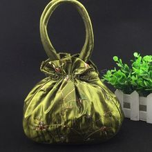 New Women's Olive Green Embroidered Flower Silk Satin Purse Jewelry Bag Handbag(China)