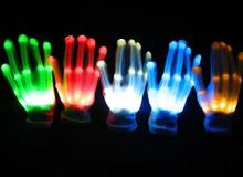 Hot Club Party Dance Halloween Flashing LED Gloves Finger Light Up Glow gloves Fancy Dress Light Show Christmas festive supplies(China)