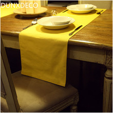 DUNXDECO 1PC 35x200CM Modern Sunny Warm Yellow Simple Plain Cotton Table Runner Party Kitchen Table Cover Decoration Photo Prop