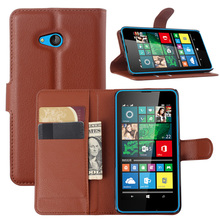 Top Sale Lichee Pattern Wallet PU Leather Case For Mircosoft Nokia Lumia 640 Cover Shell Card Holder Stylish Simplicity Brown(China)