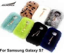 Handmake DIY Diamond Cover Soft Rex Rabbit Fur Protective Back Case Covers Fashion Cell Phone Bag Pouch For Samsung Galaxy S7(China)