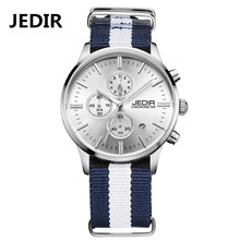 JEDIR Canvas Military Sport Watch Chronometer Men Quartz Watches 6 Hands Auto Function Relogio Masculino Gift JR14(China)