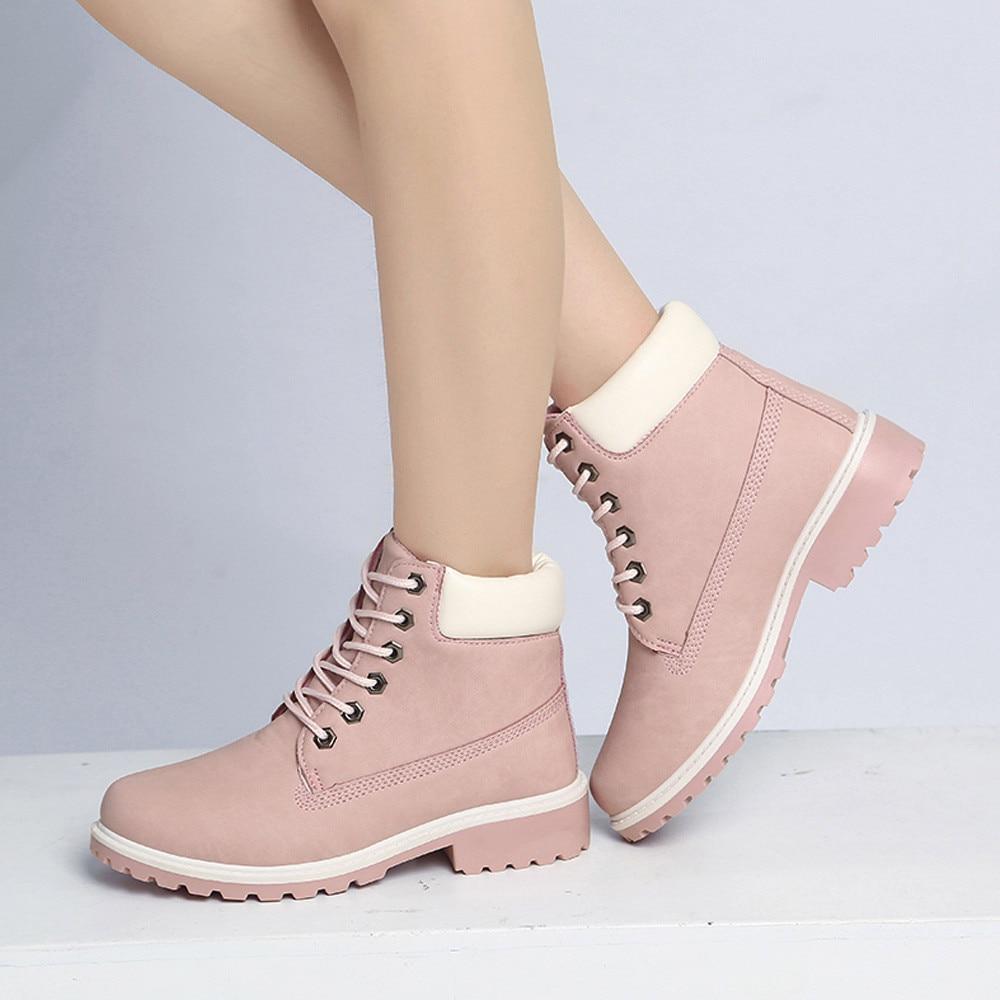 Szyadeou Women Ladies Round Toe Lace-up Faux Boots Ankle Casual Martin Shoes botas mujer invierno kozaki damskie schoenen 30 20