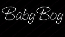 2pc/lot Baby boy hot fix rhinestone transfer motifs iron on crystal transfers design fixing rhinestones patches shirt bag