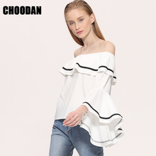 Off Shoulder Top Female Ruffle Blouses Shirts Women 2017 New Fashion Solid Short Butterfly Sleeve Slash Neck Shirts For Lady