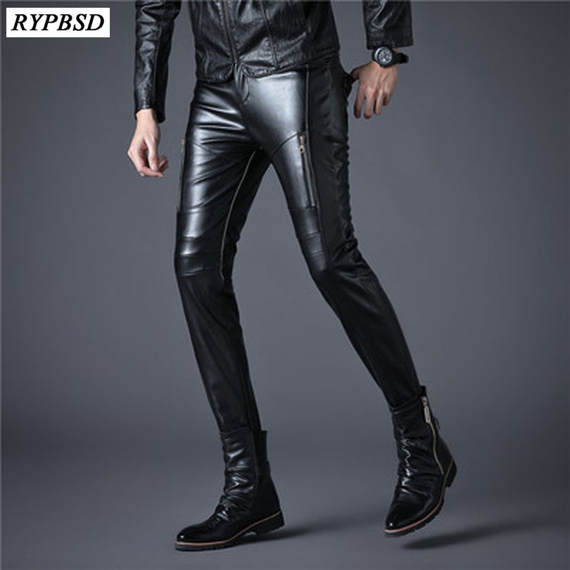 New Mens Elastic Faux Leather Pants PU Motorcycle Black Slim Fit Dance Party Trousers Biker Hip Hop Leather Pants For Male