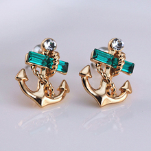 Best Quality 1 Pair Women's Jewelry Lake Blue Crystal Rhinestone    Anchor Design Earring Studs  5TQK 6SX9