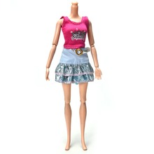"Cute Skirt Suit for Barbie Pink Vest Fashion Doll Clothes 11"" Doll Accessories"