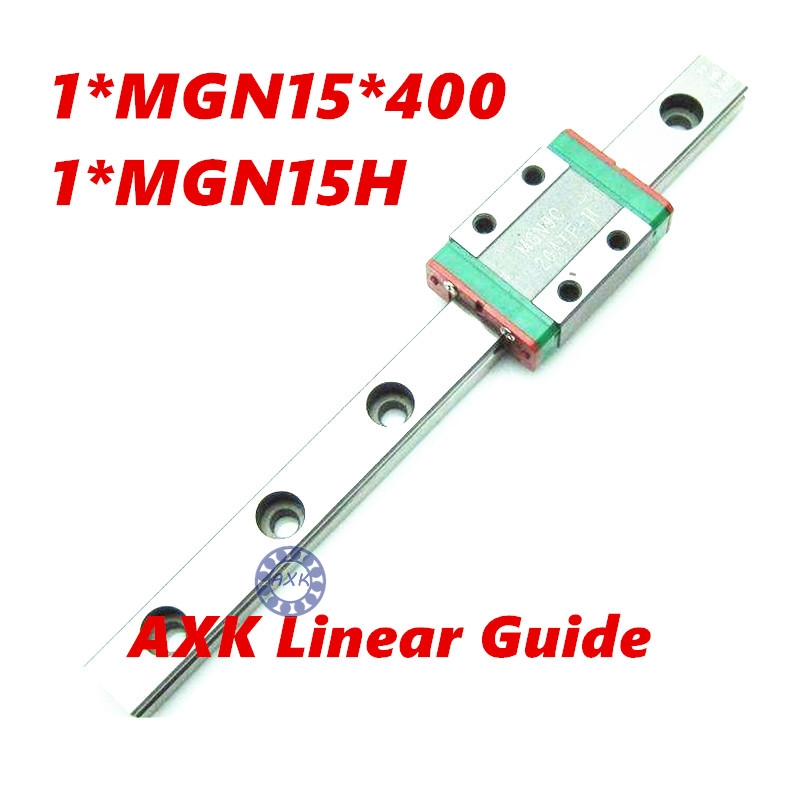 3D print parts cnc AXK MGN15 15mm miniature linear rail slide 1pcs 15mm L-400mm rail+1pcs MGN15H carriage<br>