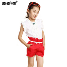 WEONEDREAM 2017 Costumes Girls Fashion Girl Clothing Sets Lace White Blouses+ Rose,Green Shorts Clothing Set Kids Clothes Sets