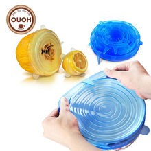 OUOH 100% Food Grade REAL silicon stretch lids universal lid Silicone saran food wrap-bowl pot lid-silicone cover pan Kitchen(China)