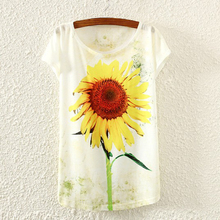 New Fashion Vintage Spring Summer Harajuku T Shirt Women Clothing Tops T shirt sunflower/animal Print T-shirt Printed Summer