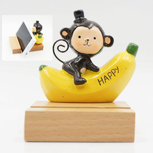 Natural Wooden Cell Phone Holder Stand Cute Cartoon Monkey banana Happy Sweet Holiday Gift For iPhone 6 7 8 X Plus Smartphone(China)