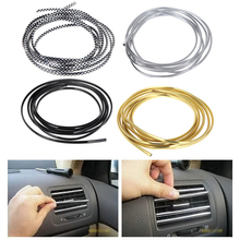 3M/Lot Car Interior Sticker Decoration Strip Chrome Air Conditioner Outlet Vent Grille Strips Car Styling Stickers Accessories