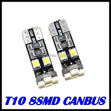 100pcs/Lot canbus T10 8SMD 3528 1210LED Canbus No OBC Error 194 168 W5W T10 led canbus Interior Instrument Light bulb lamp White