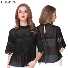 Buy CHSDCSI Summer Tops Sexy Women Black Embroidery Lace Blouse Womens Clothing Shirt Half Sleeve Solid Patchwork Chiffon Blouses for $8.90 in AliExpress store