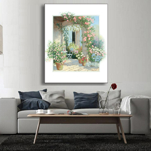 1 Pcs 3D Landscape Painting Of Porch Decorative Simple Flower Green Painting Kitchen Decor(China)