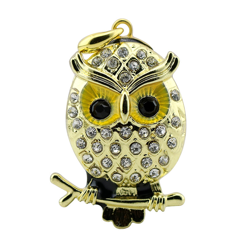 Animal USB Flash Drive Metal Diamond Owl Pendrive Nighthawk Pen Drive 4GB 8GB 16GB 32GB 64GB USB Memory Stick Gift With Necklace 25