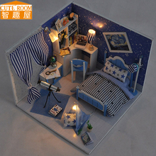 Assemble DIY Doll House Toy Wooden Miniatura Doll Houses Miniature Dollhouse toys With Furniture LED Lights Birthday Gift TW1(China)