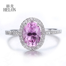 HELON Ladies Elegant Fashion Jewelry Ring Real 14K White Gold Oval 8x6mm Pink Topaz Engagement Wedding Natural Diamond Halo Ring