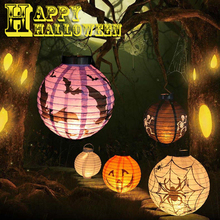 1Pc Halloween Decoration LED Paper Pumpkin Light Hanging Lantern Lamp Halloween Props Outdoor Party Supplies #250791