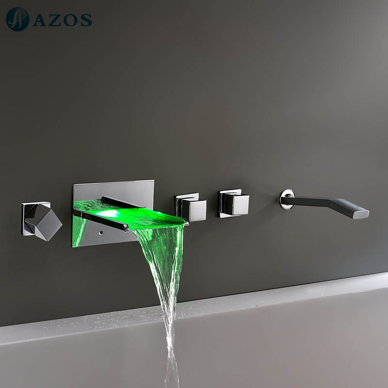bathtub shower faucets led light bathroom suana 5pc sets spout ygwj013