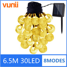 Yunji 6.5m 30LED Solar Christmas Lights 8 Modes Waterproof Crystal Ball Solar Fairy String Lights for Outdoor Garden Party Decor