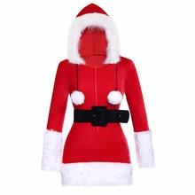 Women Sexy Christmas Festival Cosplay Hooded Costumes Red Corduroy Xmas Corsets Dress Adult Santa Dresses With Black Belt(China)