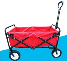 Folding 4 Wheel Wagon Trolley with Lining Foldable Collapsible Cart Sports/Garden(China)