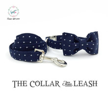 blue  collar and lead  set with bow tie  and stainless steel adjustable pet pupply cotton  dog &cat necklace and dog leash