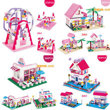 Girl's Pink Dream Theme 3IN1 Amusement Paradise/Romantic House/Girl's Boutiques/Windmill Paradise Model Building Block Brick Toy