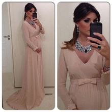 Nude Chiffon Long Evening Dresses Fashion V-Neck Floor Length Prom Dress Full Sleeves Women Pregnant Formal Party Gowns