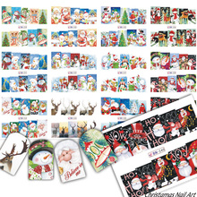 12 Designs Christmas Nail Art Water Tattoo Snowman For Stickers Decals Xmas Santa Clause Deer Full Wraps Decoration TRBN229-240(China)