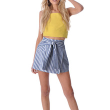 Buy New Style Women Ruffles Striped Skirt Sexy Slim Short A-Line Skirts Bow Tied Mini Skirt Sexy Fashion Hot Sales Wolovey#30 for $7.73 in AliExpress store