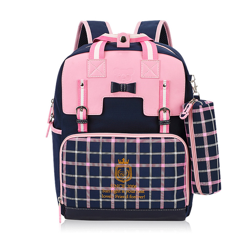 hot sale girls school backpack women travel bags bookbag mochila plaid bag children school bags for teenagers red pencil case(China (Mainland))