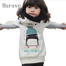 Hurave New Arrival Kids Clothes Baby Girl Penguin Pattern Long Sleeve Top Blouse Pullover Baby Girls Tops
