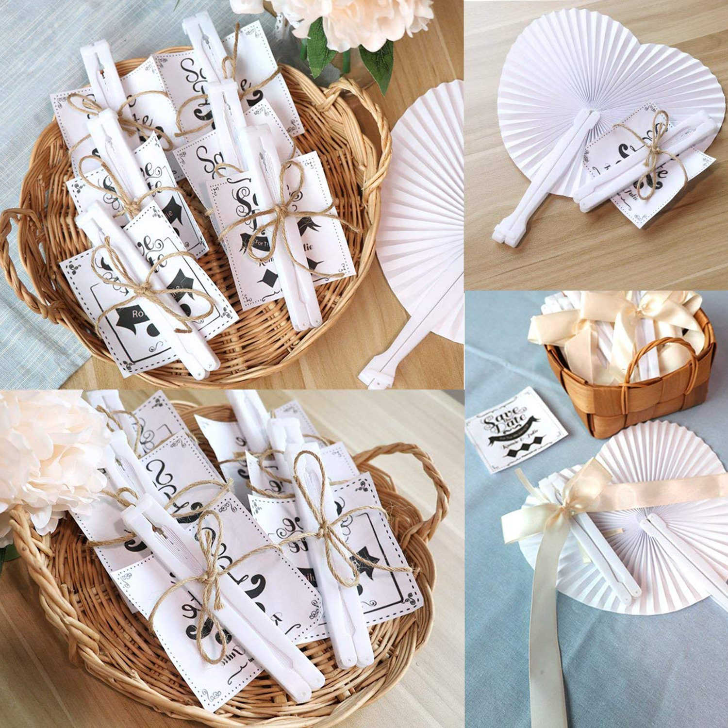 24 PCS Romantic Heart Shape Wedding Anniversary Hand Held Folding Paper Fan Party Gifts Heart White Blank Paper Folding Fans