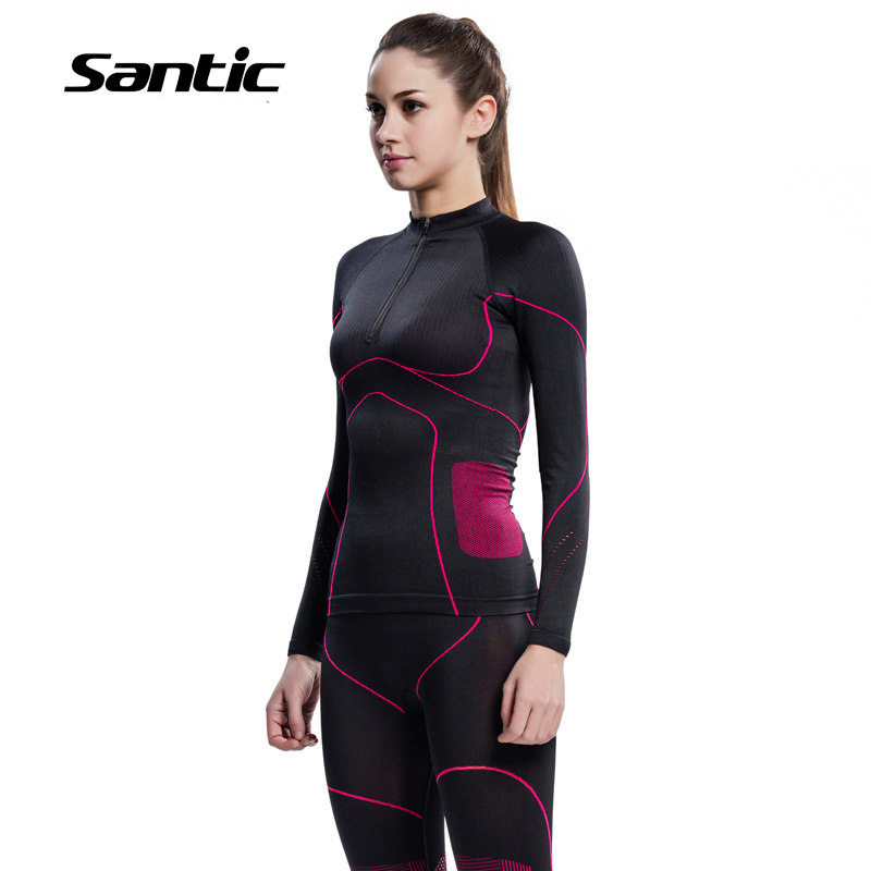 Santic Seamless Cycling Base Layer Women Breathable Running Fitness Bicycle Sport Underwear Bike Base Layer Ropa Ciclismo Mujer<br>