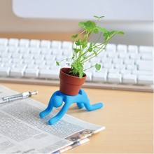 Desktop Planting Pot Man Flower Mini Bonsai Pot Succulent Plants with Soil Seed/Man has Steel Wire Bendable/Hook Hang Any Place