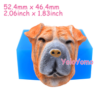D609YL 52.4mm 3D Dog Head Silicone Mold Fondant, Cake Topper, Resin, Polymer Clay, Candle, Gum Paste, Soap, Cookie Biscuit Mould