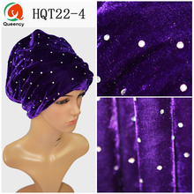 HQT22 Luxury Headwrap Headband India Muslim Long Tail Caps Head Wraps Scarf Head Wrap African Headtie Woman Velvet Turban Stones