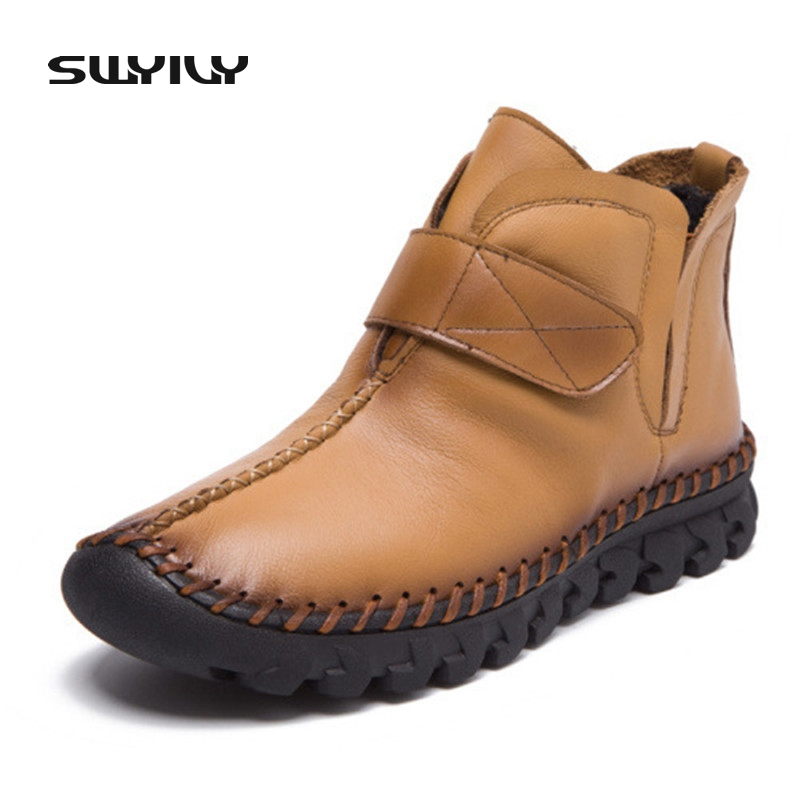 2017 New Winter Women Fashion Sewing Snow Boots Hook &amp; Loop Comfortable Flat Handmade Mother Shoes Warm Short Plush Boots<br>