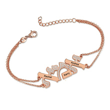Personalized Engraved Names Bracelet Hebrew Jewelry Rose Gold Color Family Name Bracelet for Mother