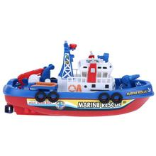 Marine Rescue Fire Boat Toys Electric Water Spraying Ship Model With Flashing Siren Sound For Children Kids Automatic Sprinkler(China)