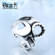 BEIER Dropshipping Hot Sale 316Stainless Steel Punk Biker Opening Motorcycle Jewelry Fashion Simple Ring BR8-400