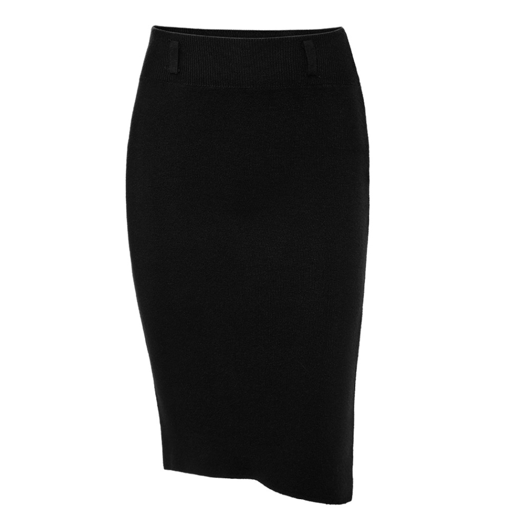 2018 Fashion Skirts Autumn winter Casual Women High Waist Knee-length Knitted Pencil Skirt Elegant slim Long Skirts Black Skirt 10