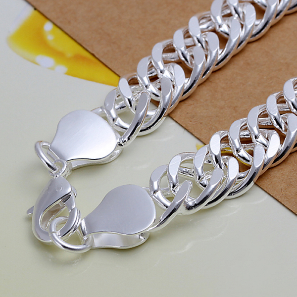 10MM 925 pure silver plated cm hand link chain Bracelets & Bangles For Women Men New Fashion silver Jewelry Wholesale 6